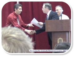 Receiving the Graduate research Award, CMU, 2006